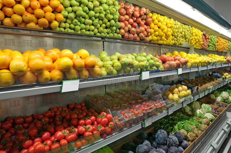 Food Department in Supermarket. Food Department in a Supermarket royalty free stock photos