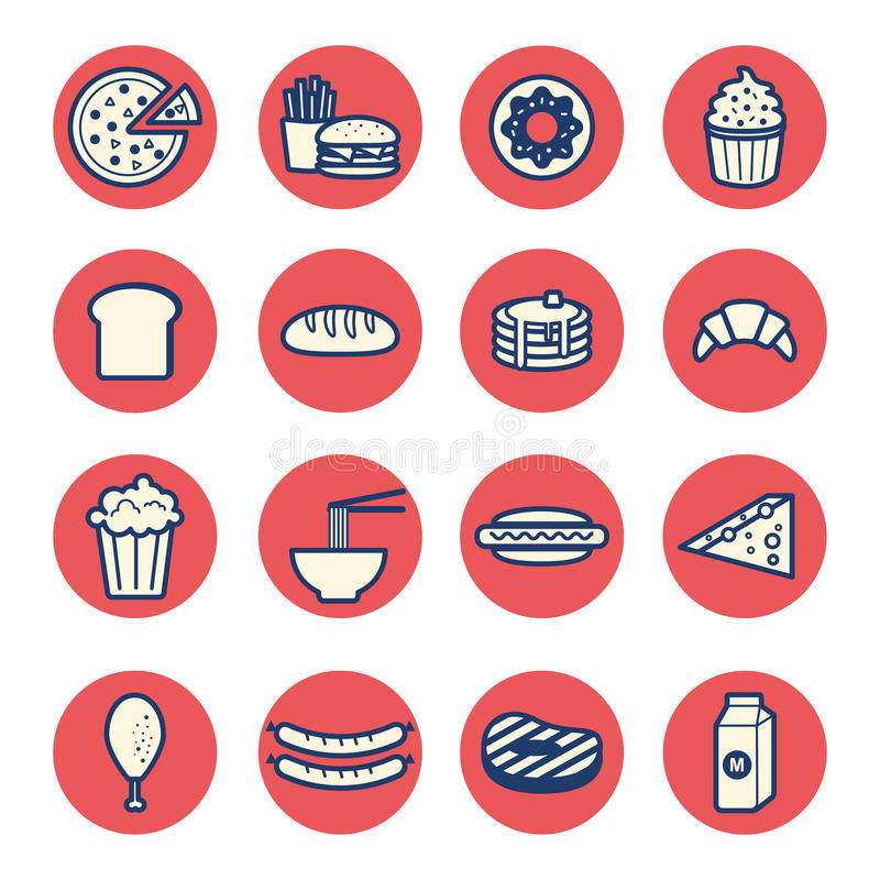 Food dessert flat thin line icons set vector stock illustration