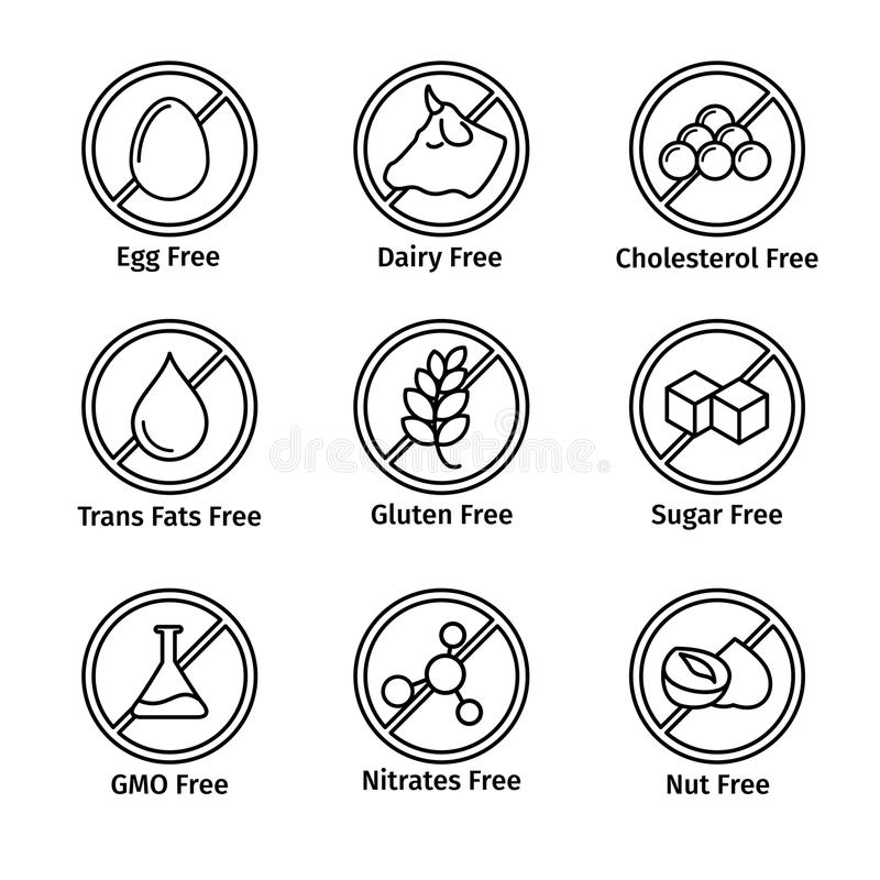 Food diet and GMO free icons set in line design vector illustration
