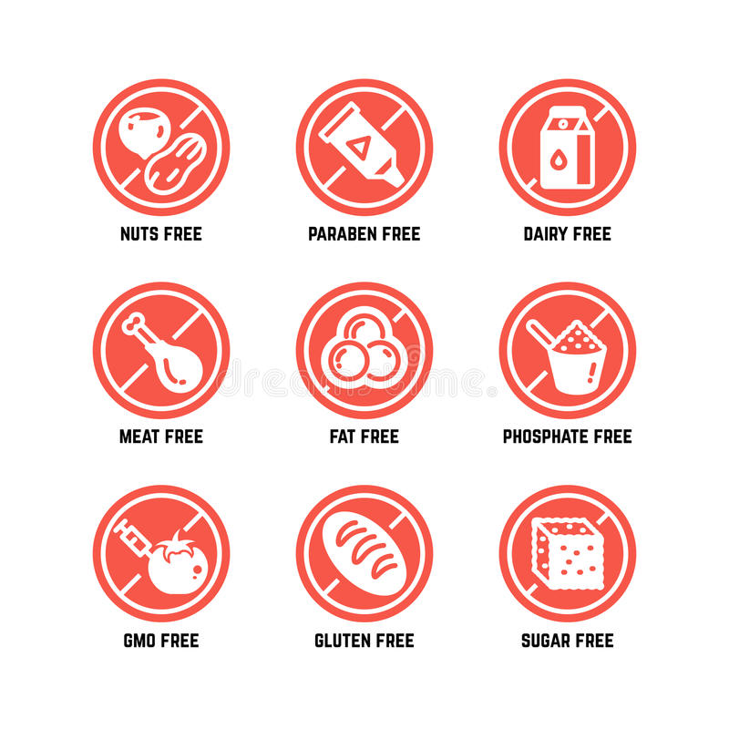 Food dietary symbols. Gmo free, no gluten, sugarless and allergy vector icons set vector illustration