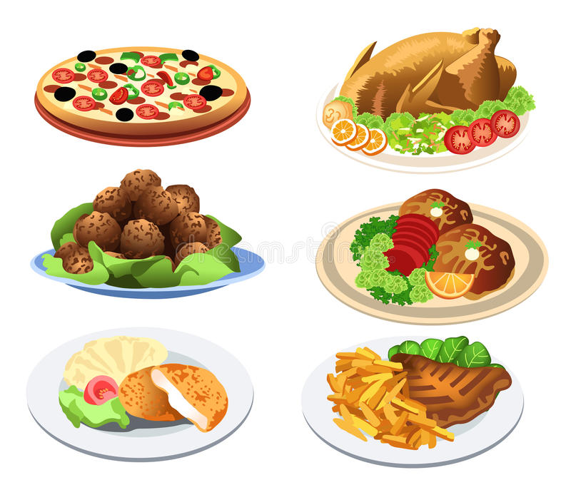 Food dishes. Illustration of several food dishes you can serve at a restaurant
