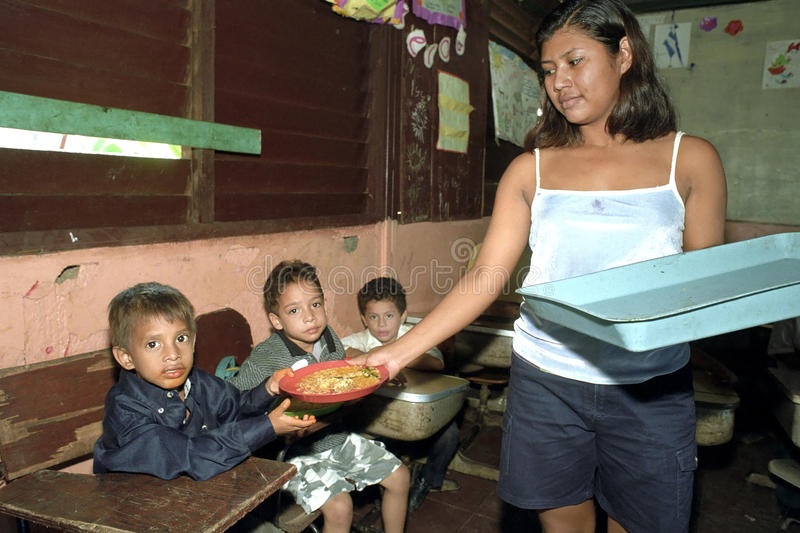 Food Distribution at primary school in Nicaragua royalty free stock images