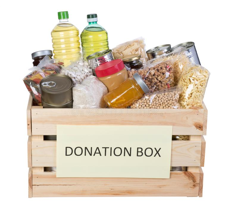 Food donations box isolated on white background royalty free stock photos