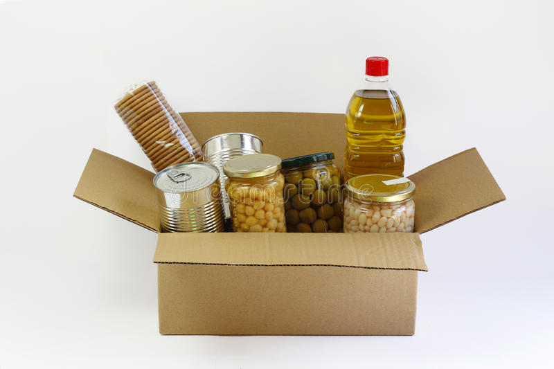 Food in a donation box stock photos