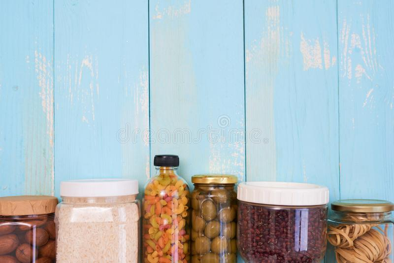 Food donations on wooden background, top view.  stock images