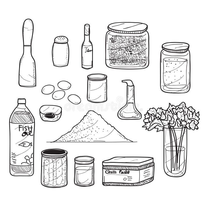 Food Doodle Herbs and Seasoning. Set of food doodle drawing of herbs and seasoning stock illustration
