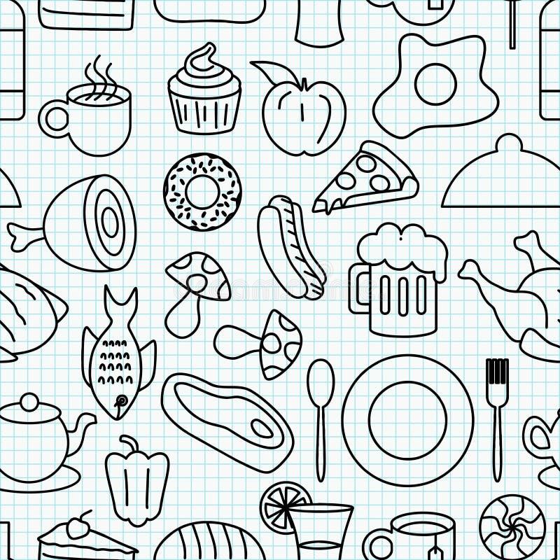 Food doodle seamless pattern stock illustration