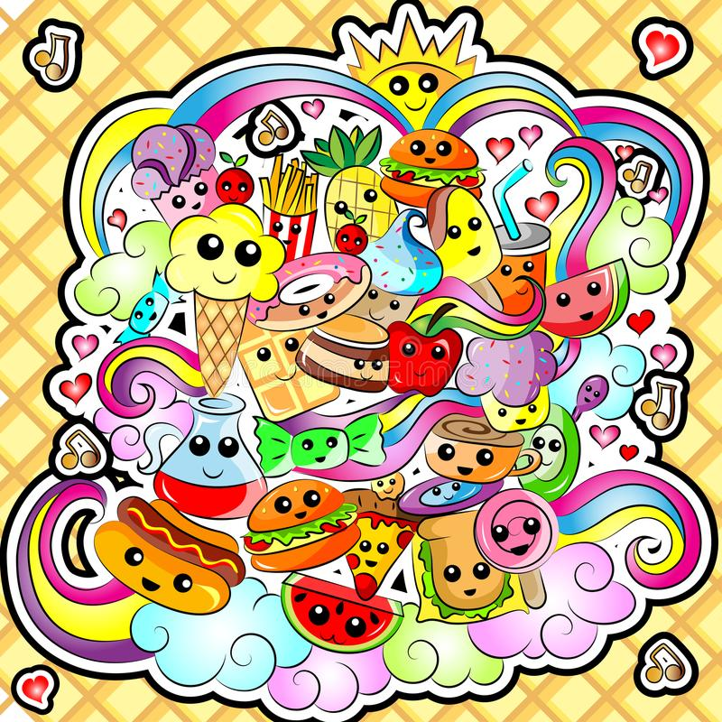 Food Doodle. Vector Illustration Kawaii Cute Food Doodle