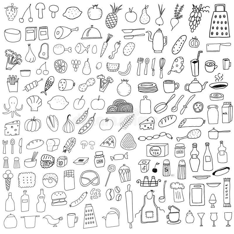 Food doodles royalty free illustration