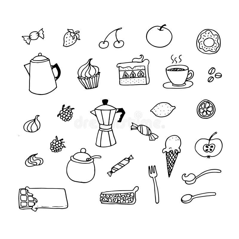 Food doodles set stock illustration