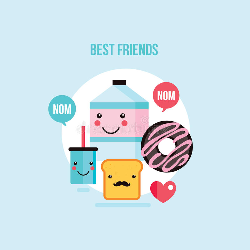 Food Drink cartoon characters Milk carton Glass Donut Toast bread royalty free illustration
