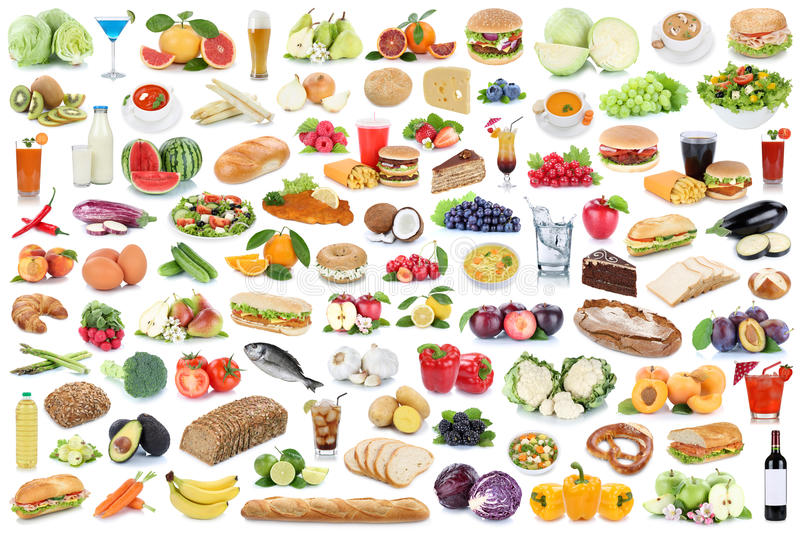 Food and drink collection collage healthy eating fruits vegetables fruit drinks isolated stock photos