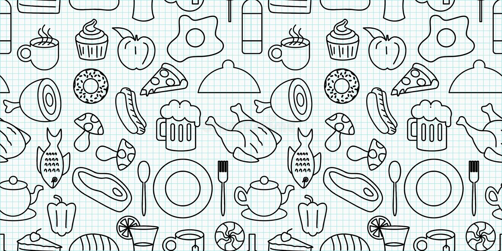 Food and drink doodle elements object seamless pattern vector illustration. Repeated black and white line art design background stock illustration