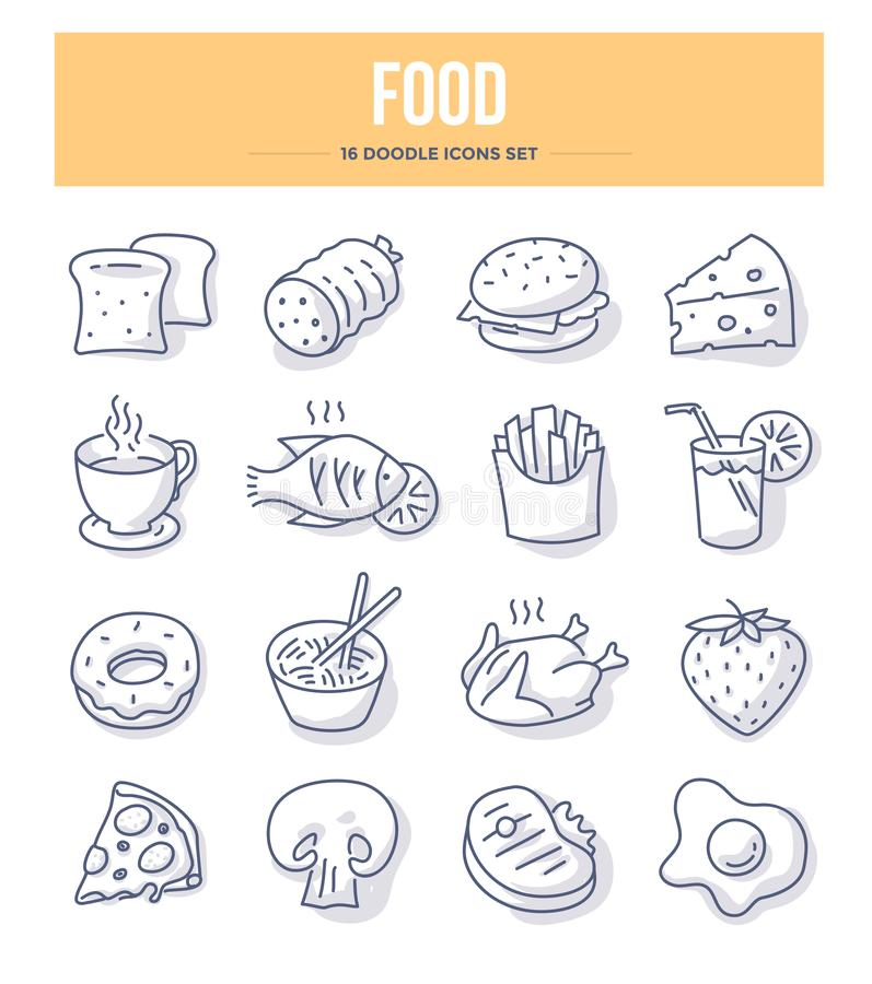 Food & Drink Doodle Icons royalty free illustration