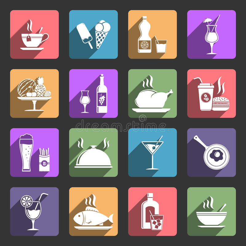Food and drink flat icons stock illustration
