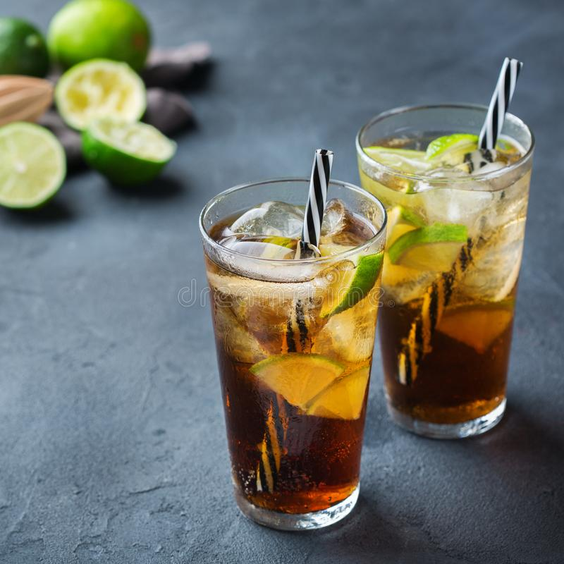 Cuba libre or long island iced tea alcohol cocktail drink. Food and drink, holidays party concept. Cuba libre or long island iced tea alcohol cocktail drink royalty free stock images
