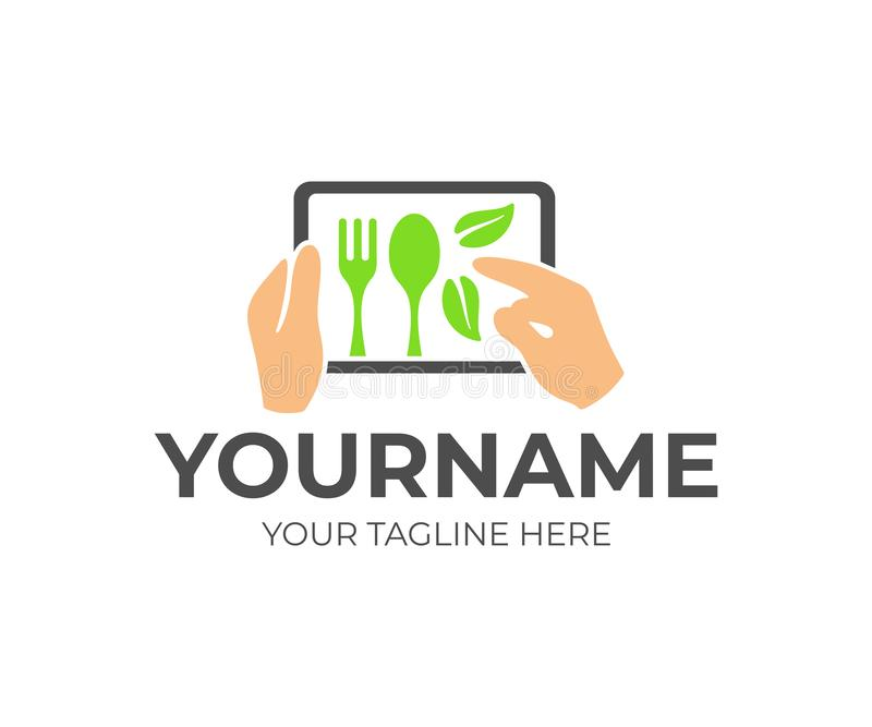 Food and drink, human hands hold a tablet with a menu and order food, logo design. Fork and spoon with leaves, fast food and meal, royalty free illustration