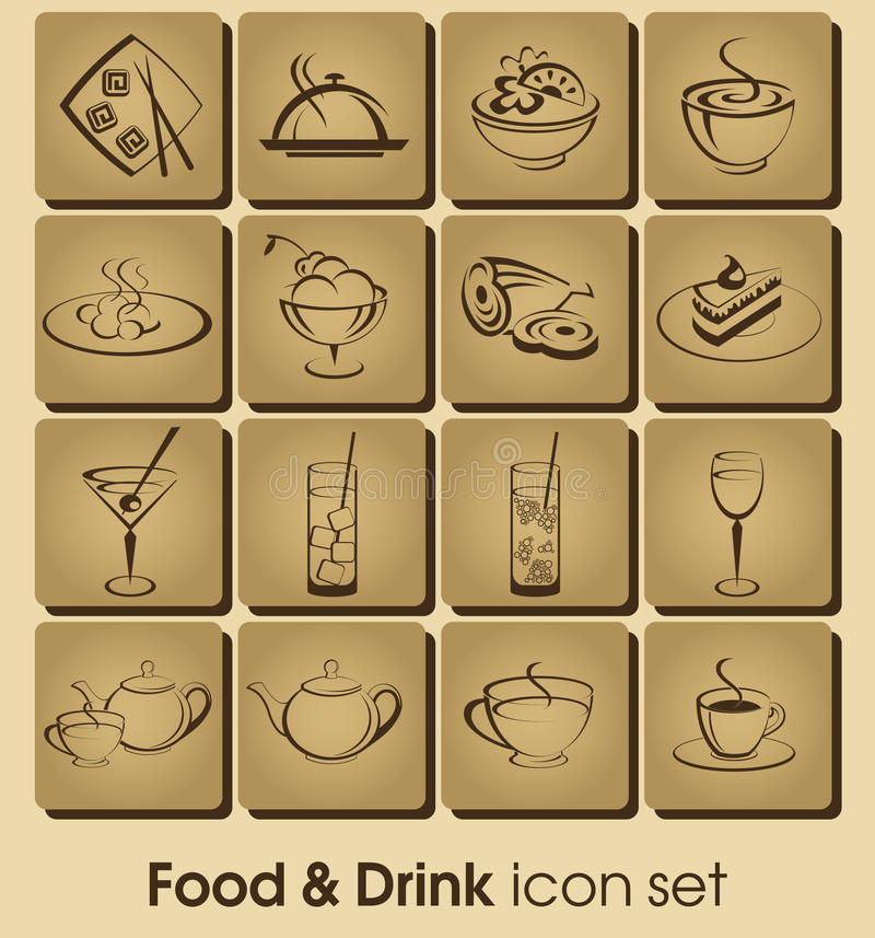 Food and drink icon set vector illustration