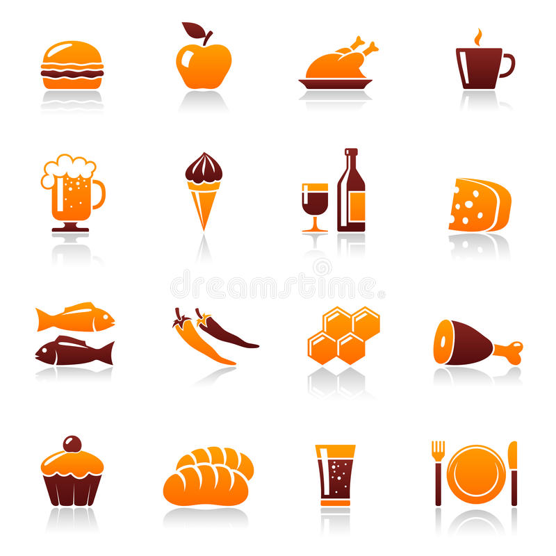 Food and drink icons stock illustration