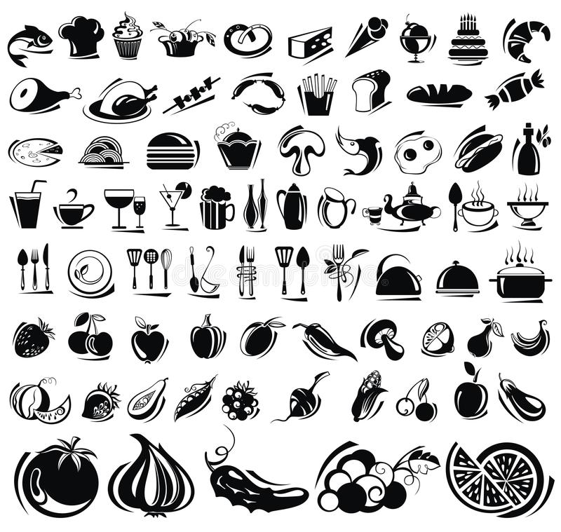 Food and drink icons set. Vector black food icons set
