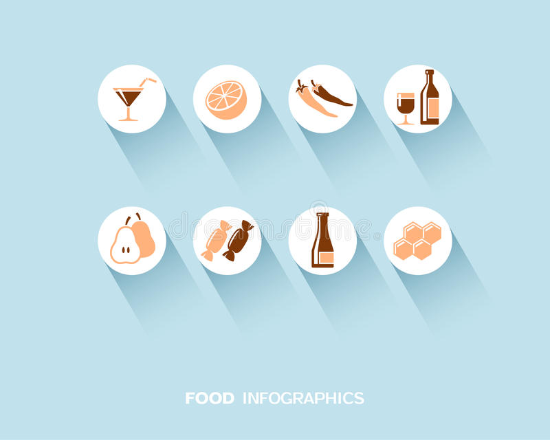 Food and drink infographic with flat icons set royalty free illustration
