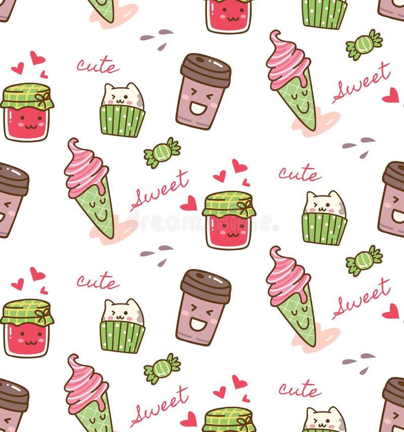 Food and drink kawaii pattern vector illustration