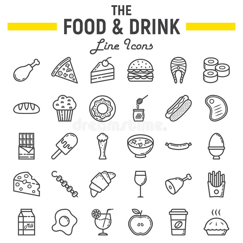 Food and drink line icon set, meal sign collection vector illustration