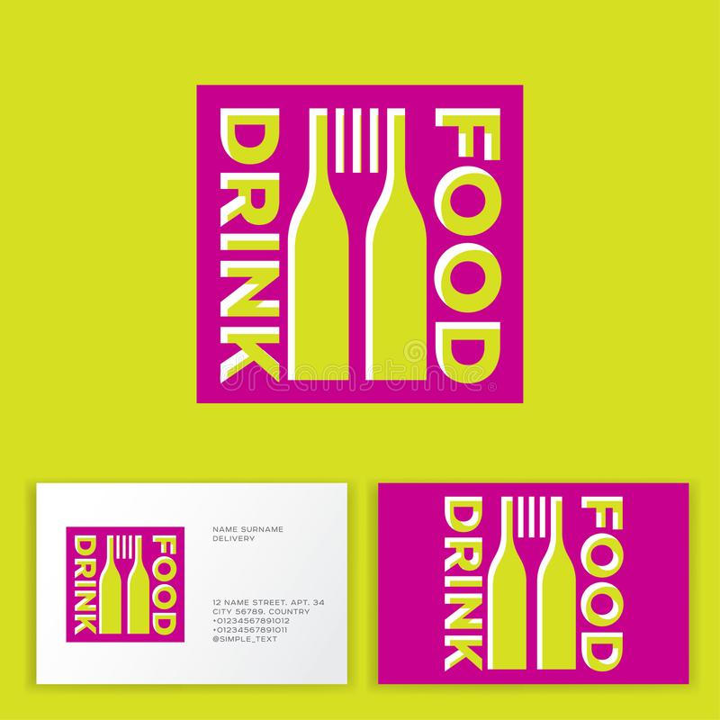 Food and Drink logo. Square form with silhouette of bottles of wine and fork. vector illustration