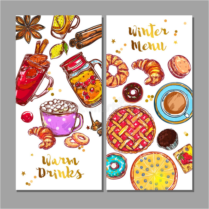 Food Drink Menu Banner Set stock illustration