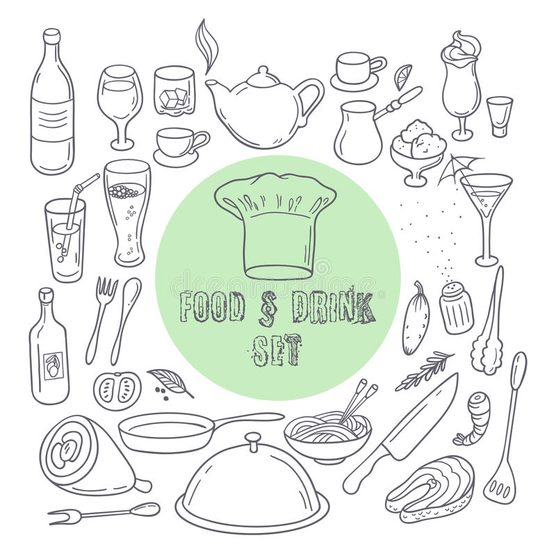 Food and drink outline doodle icons. Set of hand drawn kitchen elements vector illustration