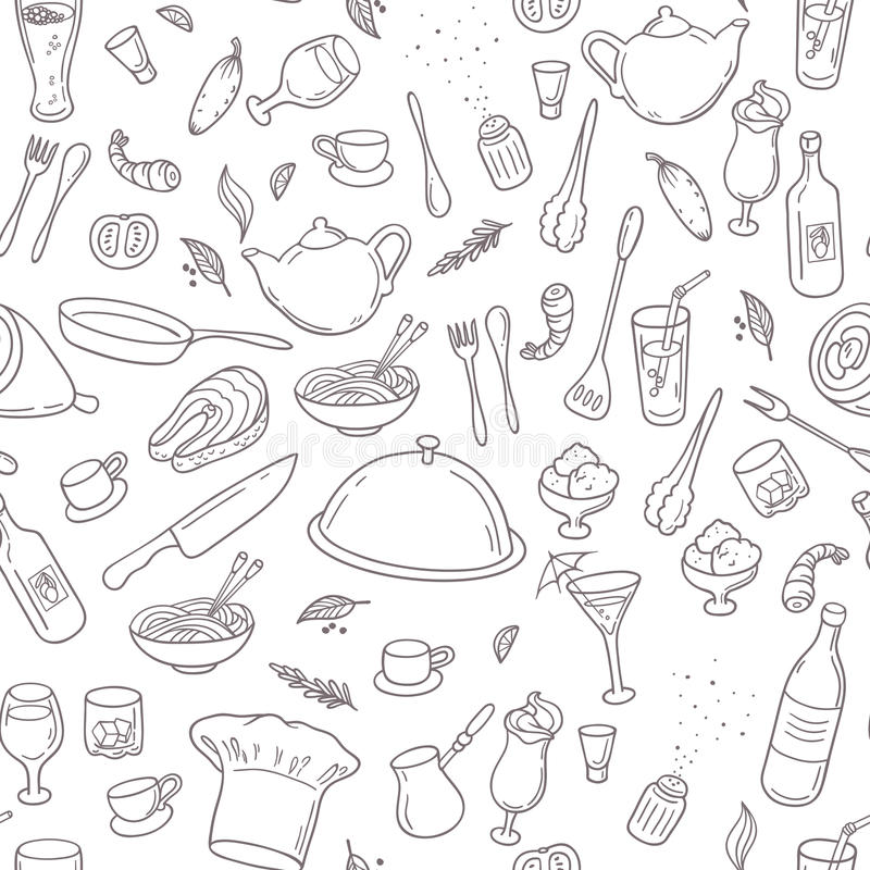 Food and drink outline seamless pattern. Hand vector illustration