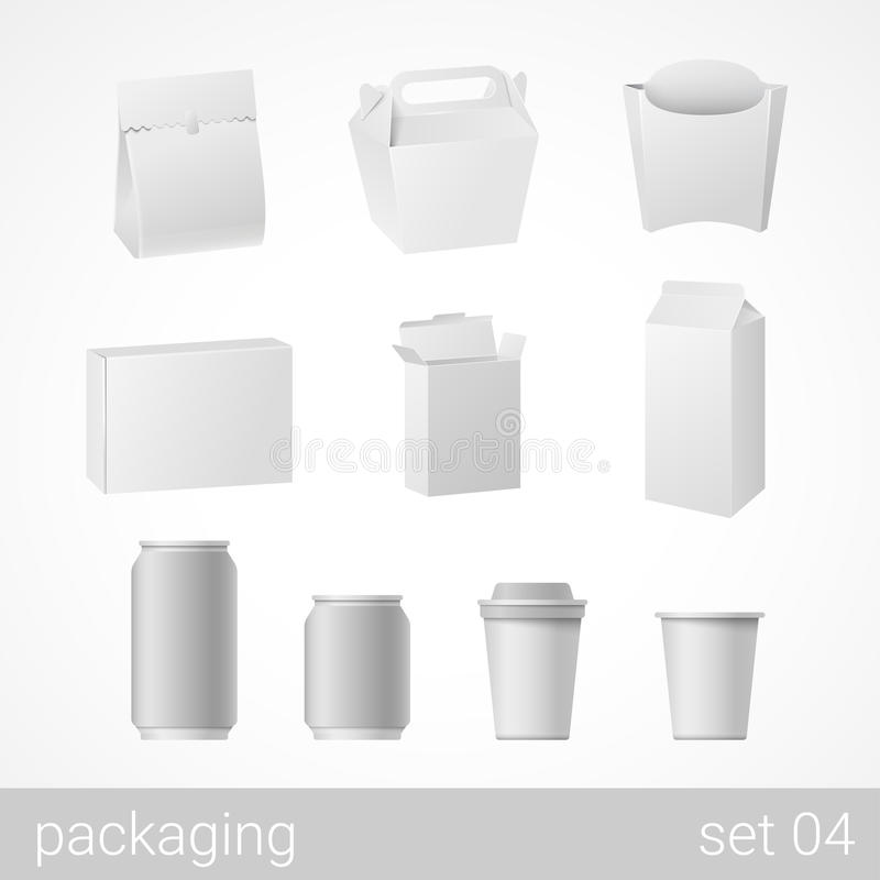 Download Food And Drink Plastic, Metal And Carton Cardboard Package Set Stock Vector - Illustration: 59049461