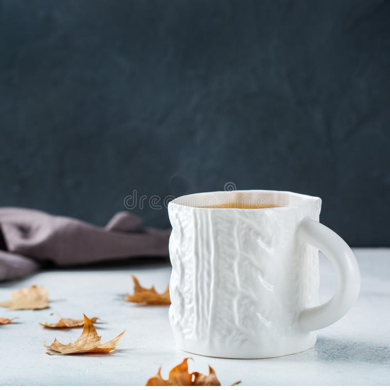 Food and drink, still life concept. Big white mug with hot tea infusion beverage to warm in a cold winter and autumn days. Copy. Space background royalty free stock images