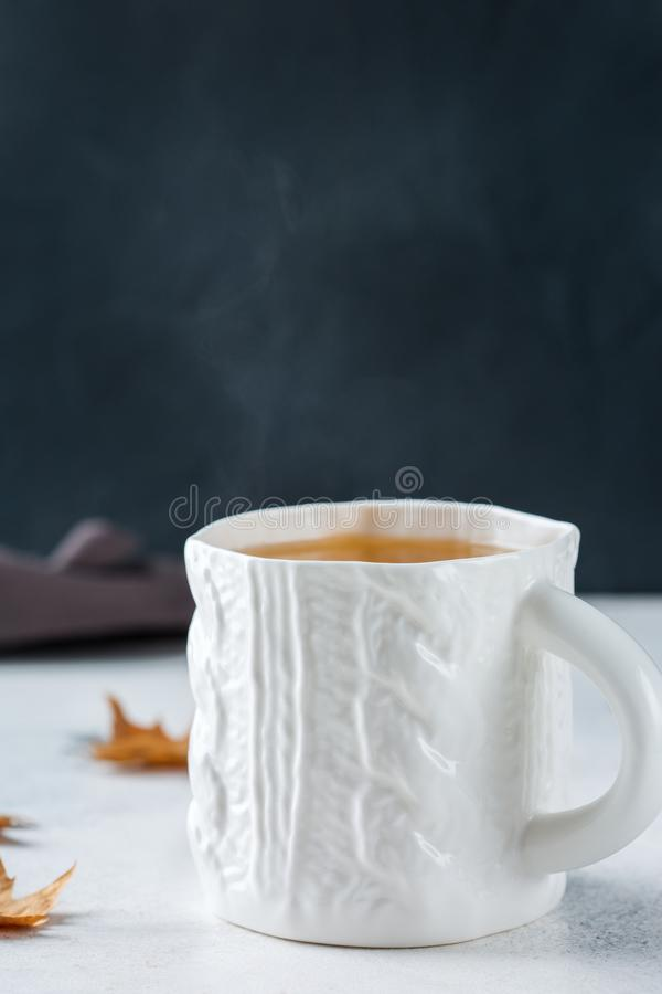 Food and drink, still life concept. Big white mug with hot tea infusion beverage to warm in a cold winter and autumn days. Copy. Space background royalty free stock photo