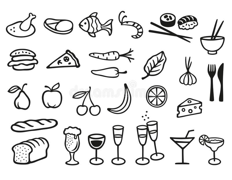Food and drink symbols. Collection with 27 different food and drink symbols stock illustration