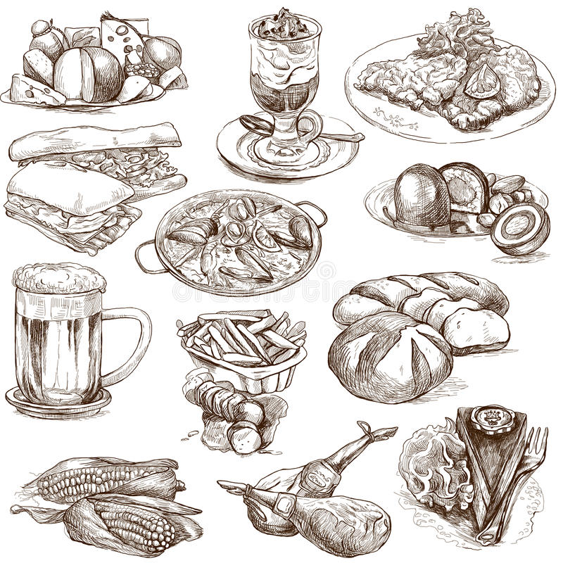 Food 2. Food and Drinks around the World (set no.2, white set) - Collection of an hand drawn illustrations. Description: Full sized hand drawn illustrations stock illustration