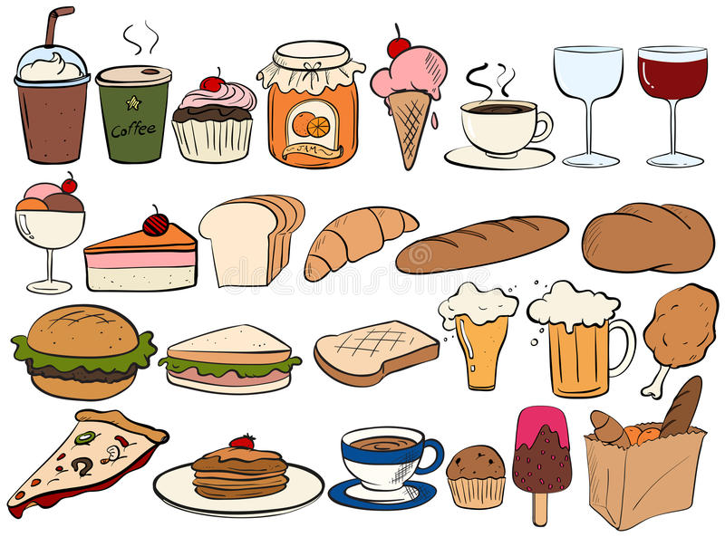 Food and drinks royalty free illustration