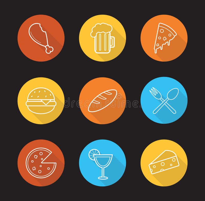 Food and drinks flat linear long shadow icons set stock illustration