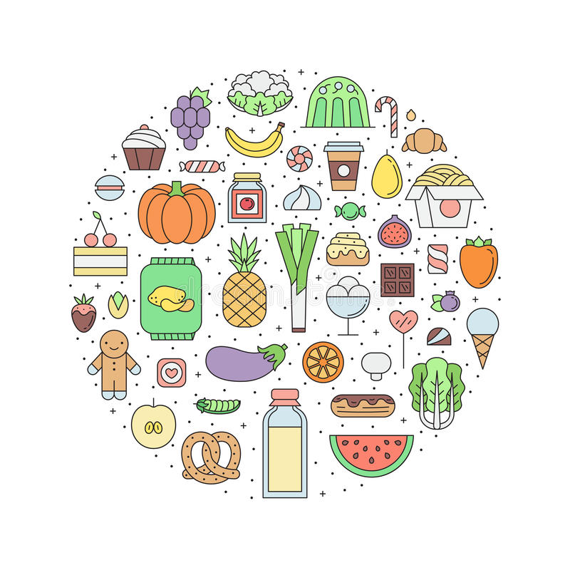 Food & drinks grocery outline circle illustration. Part one. Food and drinks grocery shop outline circle illustration. Clean and simple design. Part one royalty free illustration