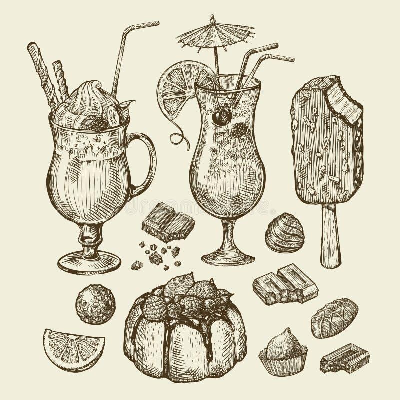 Food and drinks. Hand drawn cocktail, smoothie, pie, pasty, cake, ice lolly, sundae, milkshakes, chocolates, dessert. Food and drinks. Hand-drawn cocktail stock illustration