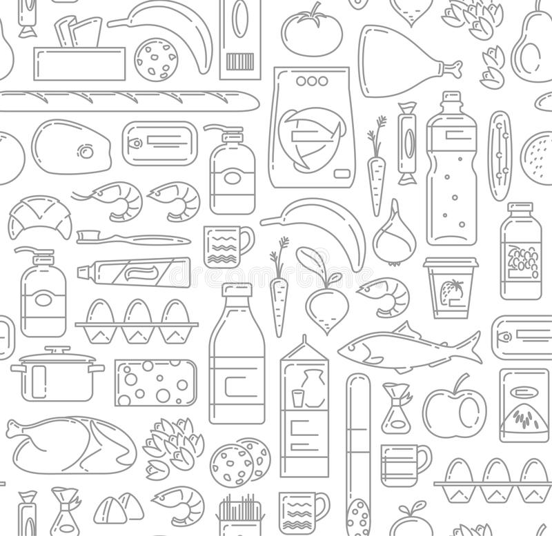 Food, drinks and household cleaning items Seamless Pattern in linear simple style. stock illustration