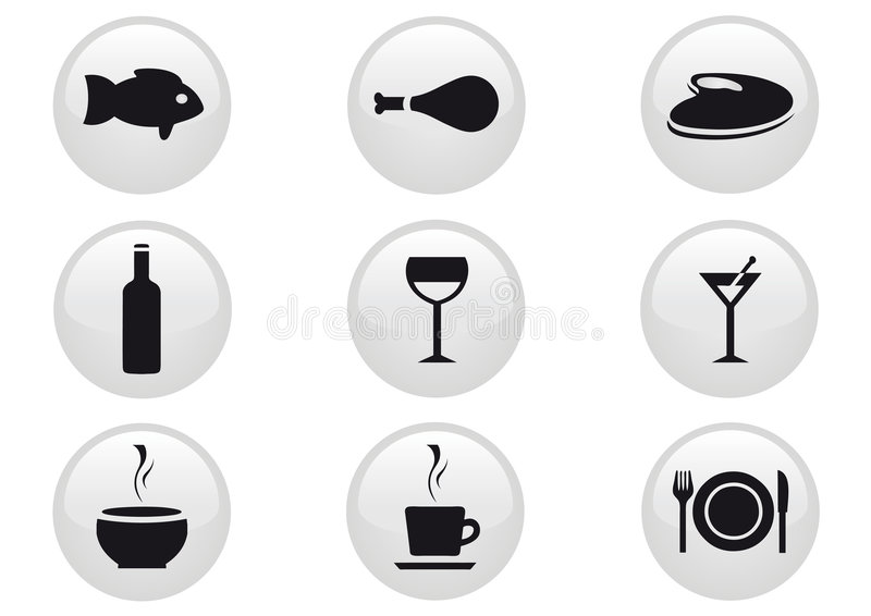 Food and Drinks Icon Set stock illustration