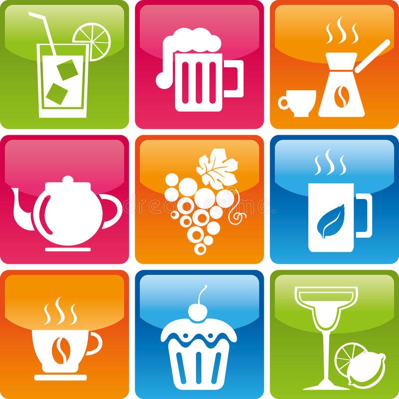 Food and drinks icons. Set of drinks and food icons stock illustration