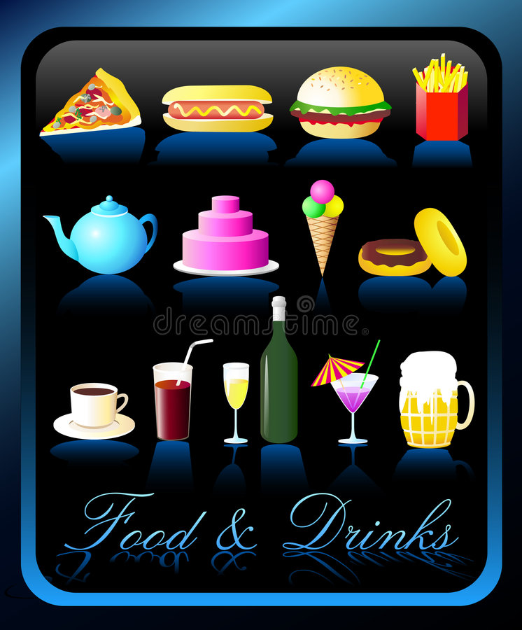 Download Food & Drinks Icons - Vector/Eps8 Stock Vector - Image: 1360803
