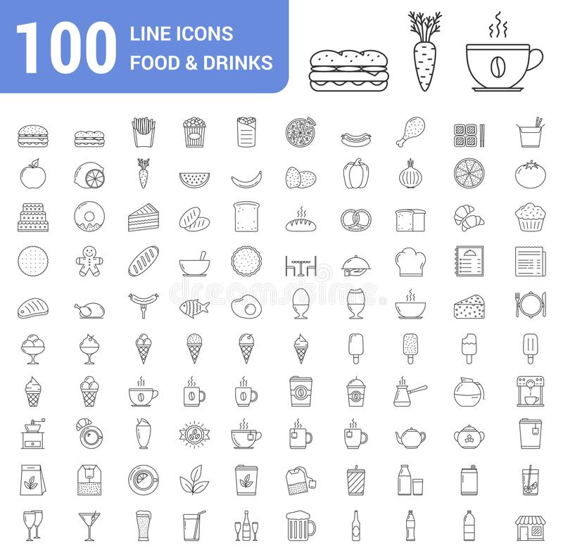 100 food and drinks line icons stock illustration