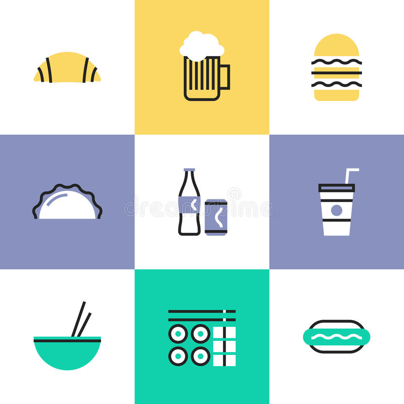 Food and drinks pictogram icons set stock illustration