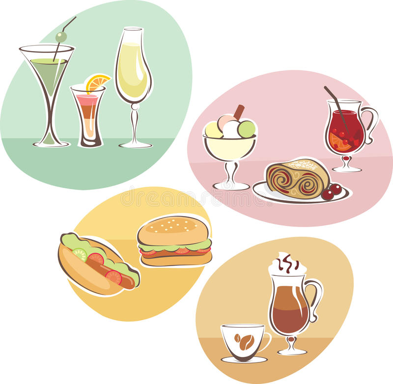 Download Food and Drinks set stock vector. Illustration of icon - 19230415