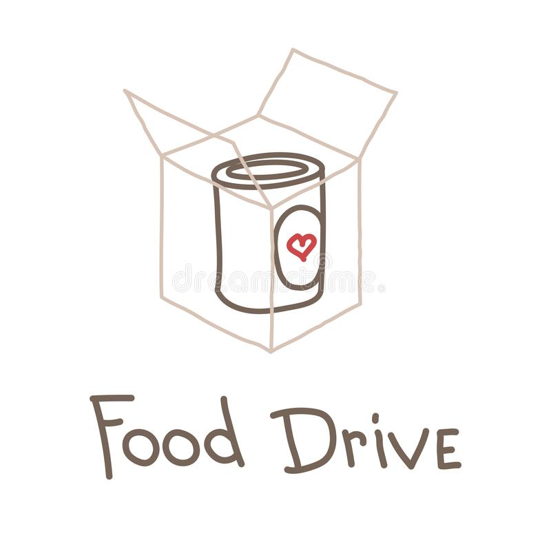 Food Drive charity movement, vector illustration vector illustration