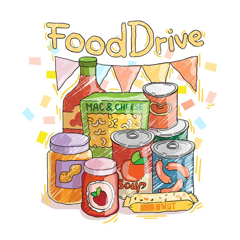 Food Drive non perishable food charity movement, badge illustrations. vector illustration