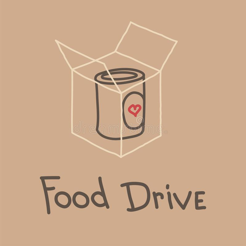 Food Drive charity movement, vector illustration royalty free illustration